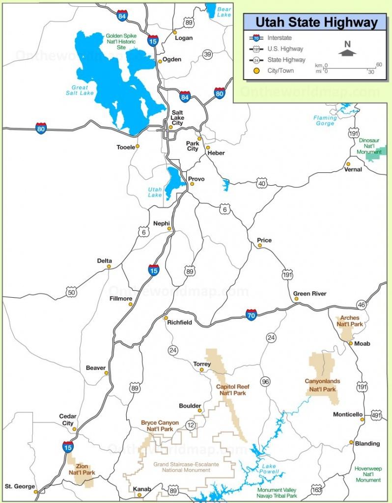 Utah State Maps   Usa   Maps Of Utah (Ut) - Utah Road Map Printable