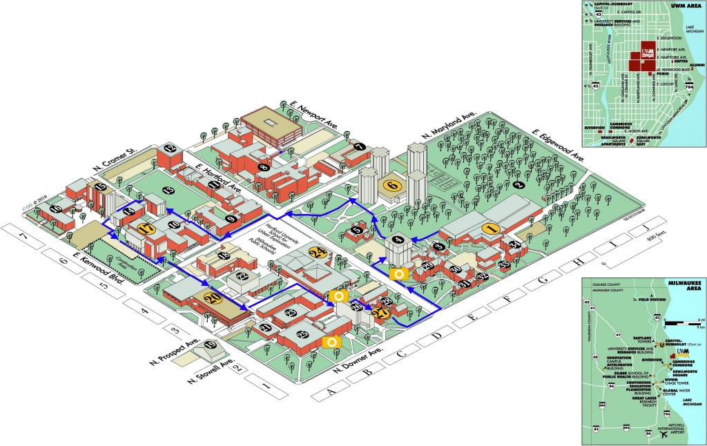 Uwm Campus Map | University Of Wisconsin Milwaukee Online Visitor's - Uw Madison Campus Map Printable