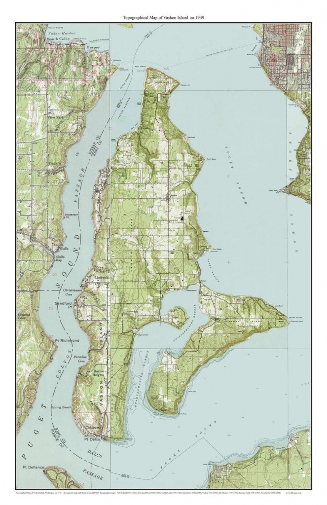 Vashon Island Ca. 1949 Usgs Old Topographic Map Custom | Etsy - Vashon Island Map Printable