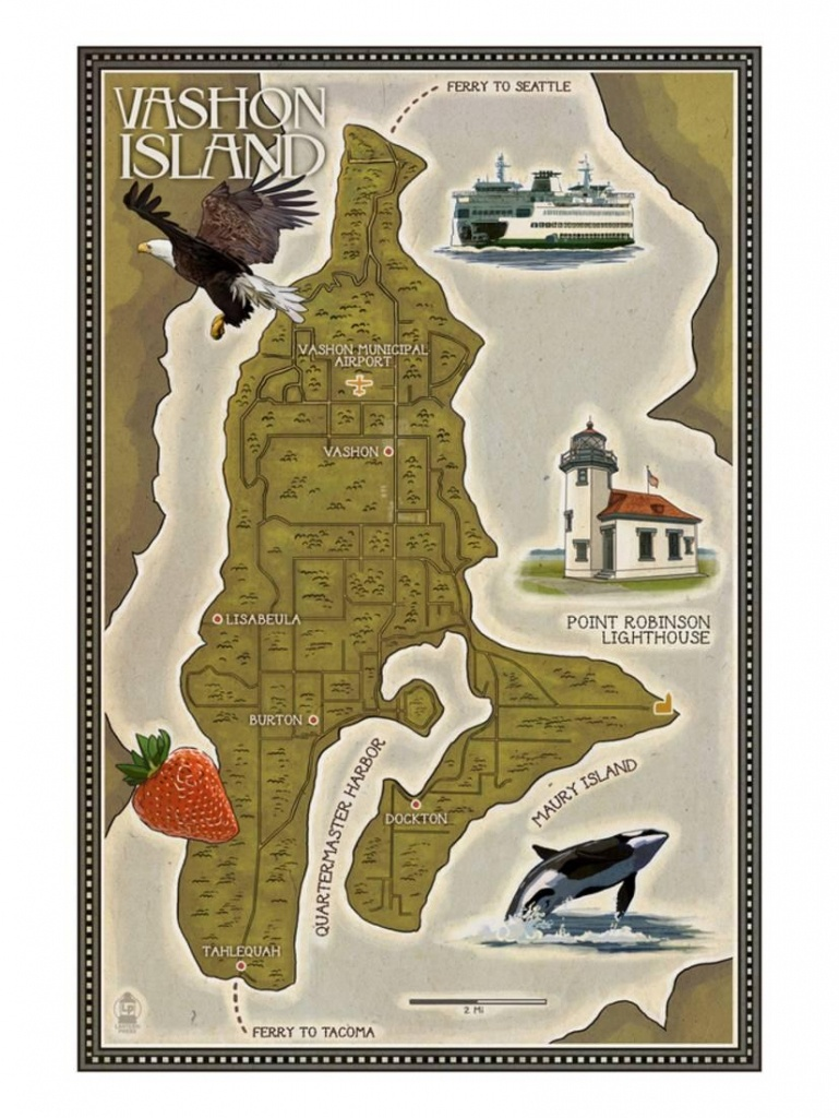 Vashon Island, Washington - Map Laminated Printlantern Press - Vashon Island Map Printable