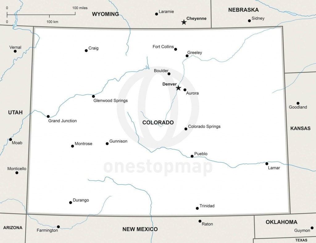 Vector Map Of Colorado Political | One Stop Map - Printable Map Of Colorado