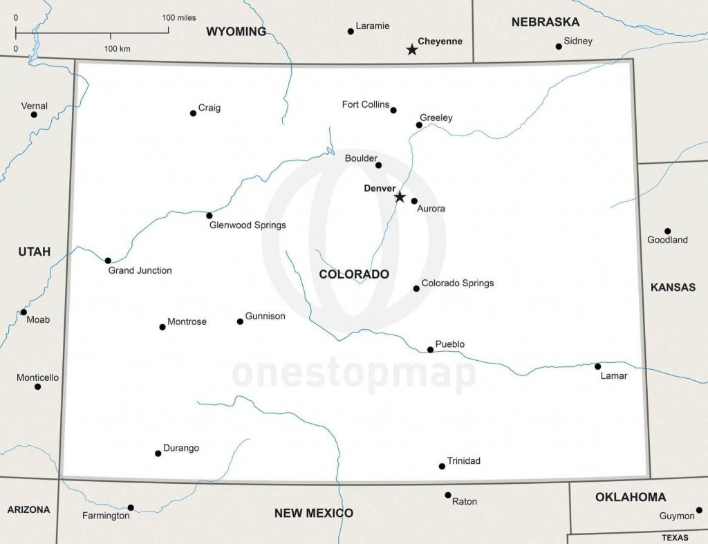 Vector Map Of Colorado Political | One Stop Map - Printable Map Of Colorado
