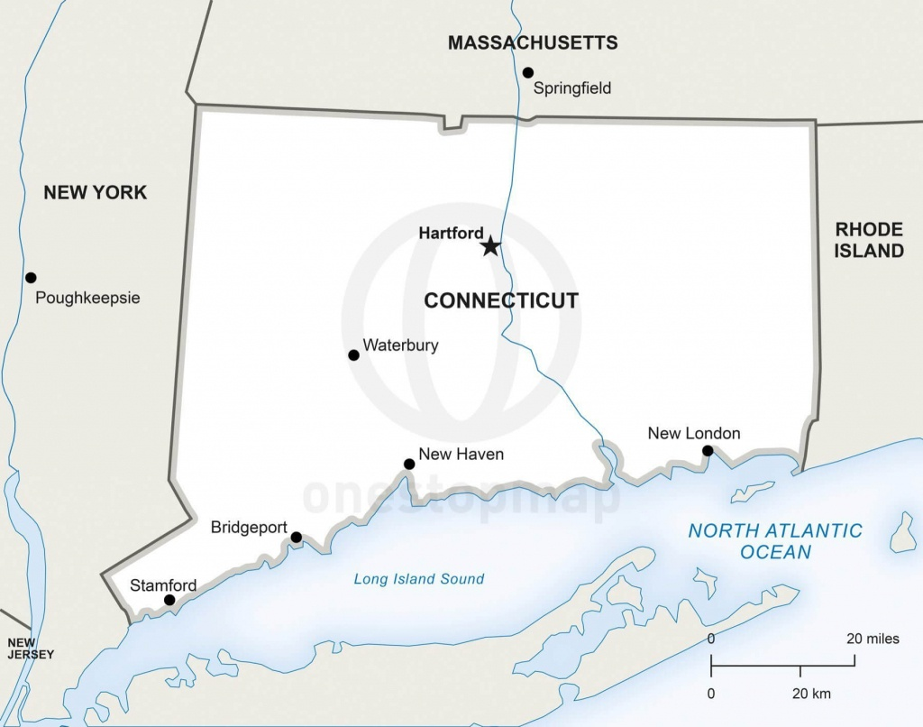 Vector Map Of Connecticut Political | One Stop Map - Printable Map Of Connecticut