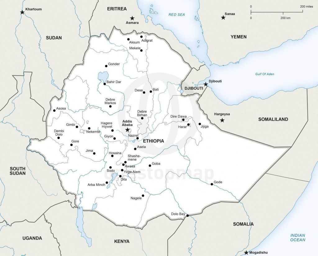 Vector Map Of Ethiopia Political | One Stop Map - Printable Map Of Ethiopia