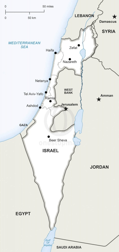 Vector Map Of Israel Political   One Stop Map - Israel Outline Map Printable