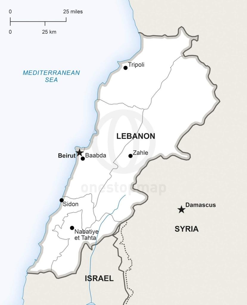 Vector Map Of Lebanon Political | One Stop Map - Printable Map Of Lebanon