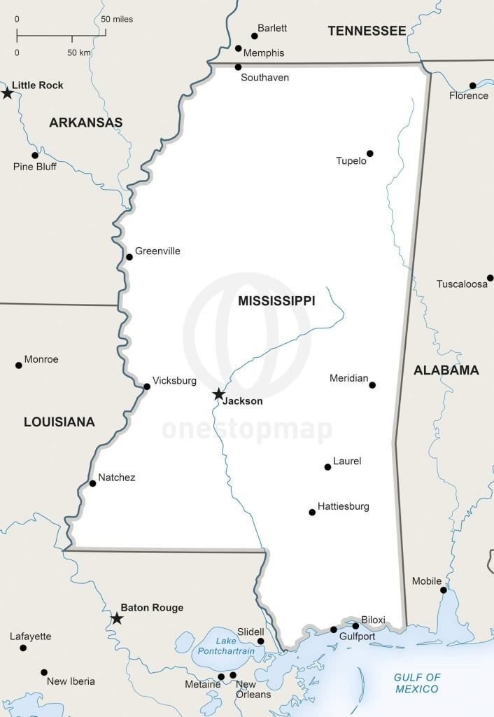 Vector Map Of Mississippi Political | One Stop Map - Printable Map Of Mississippi