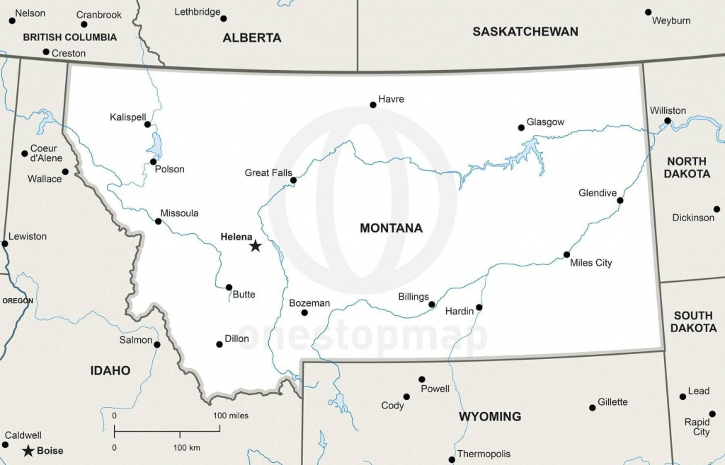 Vector Map Of Montana Political | One Stop Map - Printable Map Of Montana