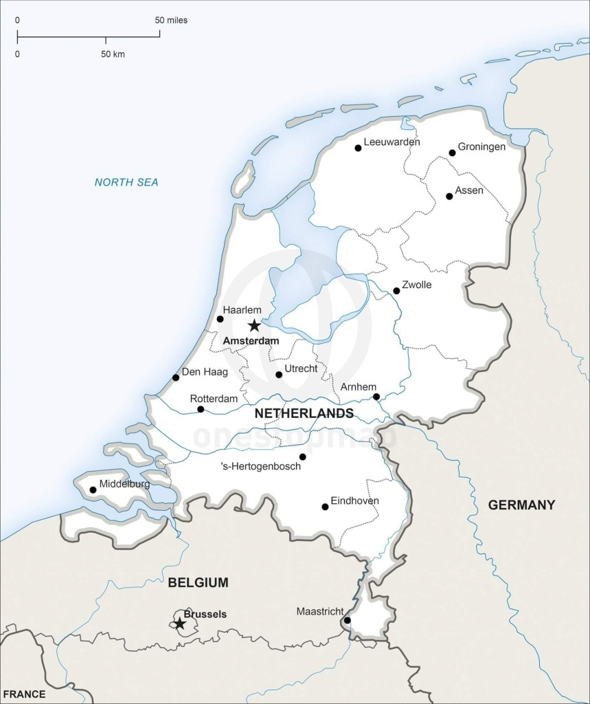 Vector Map Of Netherlands Political   One Stop Map - Printable Map Of Holland