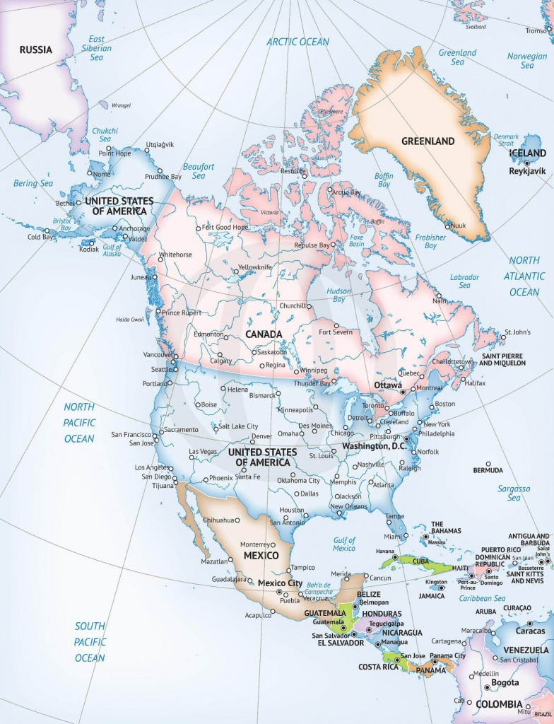 Vector Map Of North America Continent | One Stop Map - Printable Physical Map Of North America