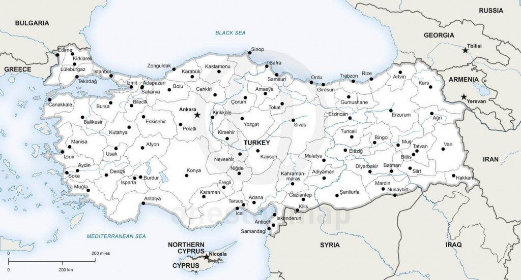 Vector Map Of Turkey Political | One Stop Map - Printable Map Of Turkey