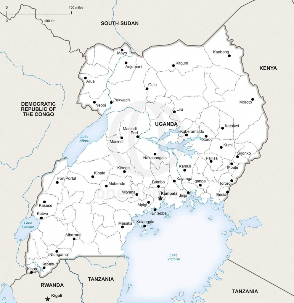 Vector Map Of Uganda Political | One Stop Map - Printable Map Of Uganda