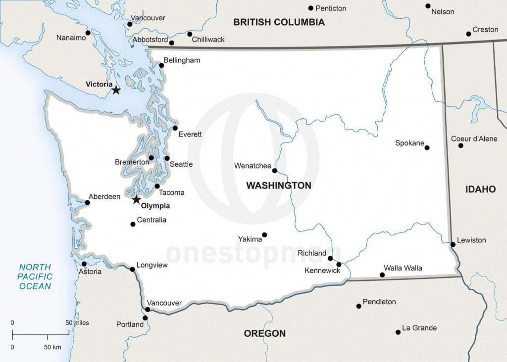 Vector Map Of Washington Political   One Stop Map - Printable Map Of Washington State