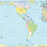 Vector World Political Map In The Eckert Iv Projection Us Centric In   Small World Map Printable