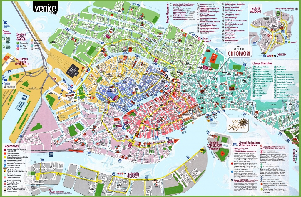 Venice Attractions Map Pdf - Free Printable Tourist Map Venice - Printable Map Of Venice