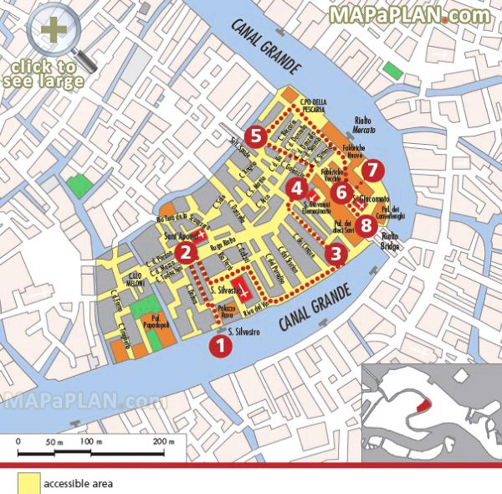 Venice Maps - Top Tourist Attractions - Free, Printable City Street Map - Tourist Map Of Venice Printable