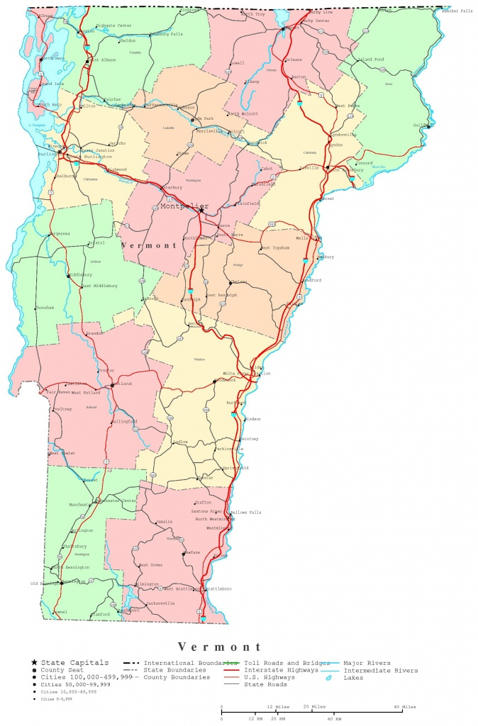 Vermont Printable Map - Printable Map Of Vermont