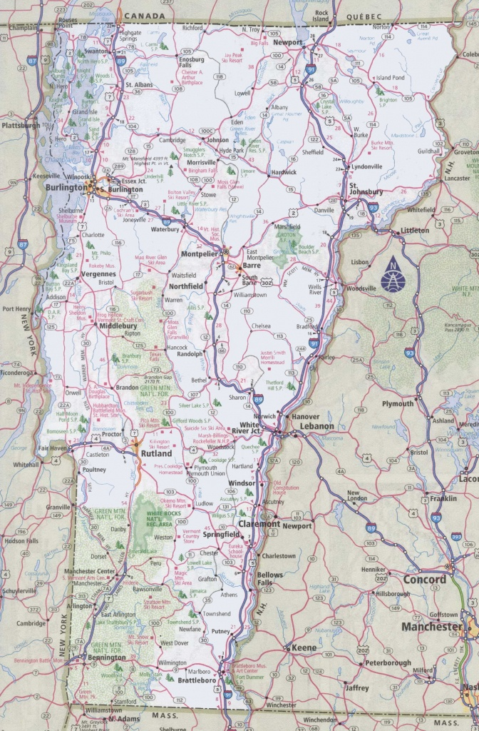 Printable Map Of Vermont