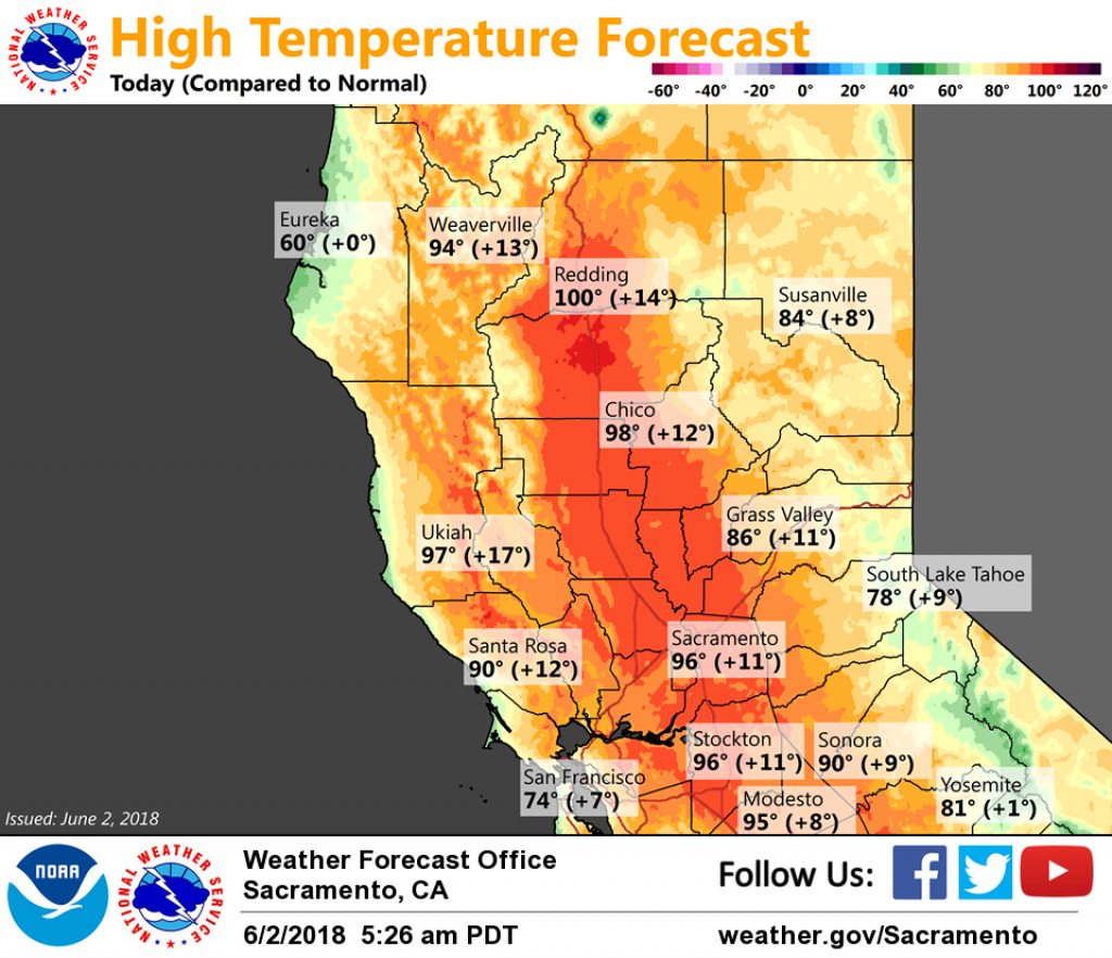 Very Warm Weather Across Interior Northern California This Weekend - Northern California Weather Map