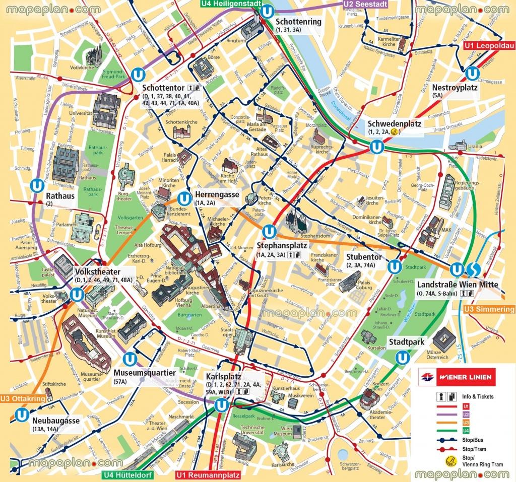 Vienna Map Ubahn Underground Subway Metro Stations Tram Stops - Vienna Tourist Map Printable