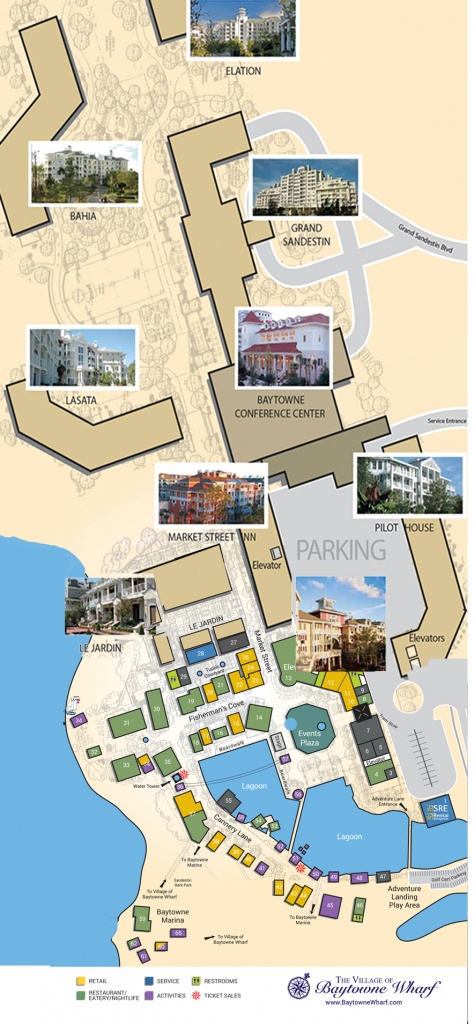 Village Map | The Village Of Baytowne Wharf | Located In Sandestin - Sandestin Florida Map