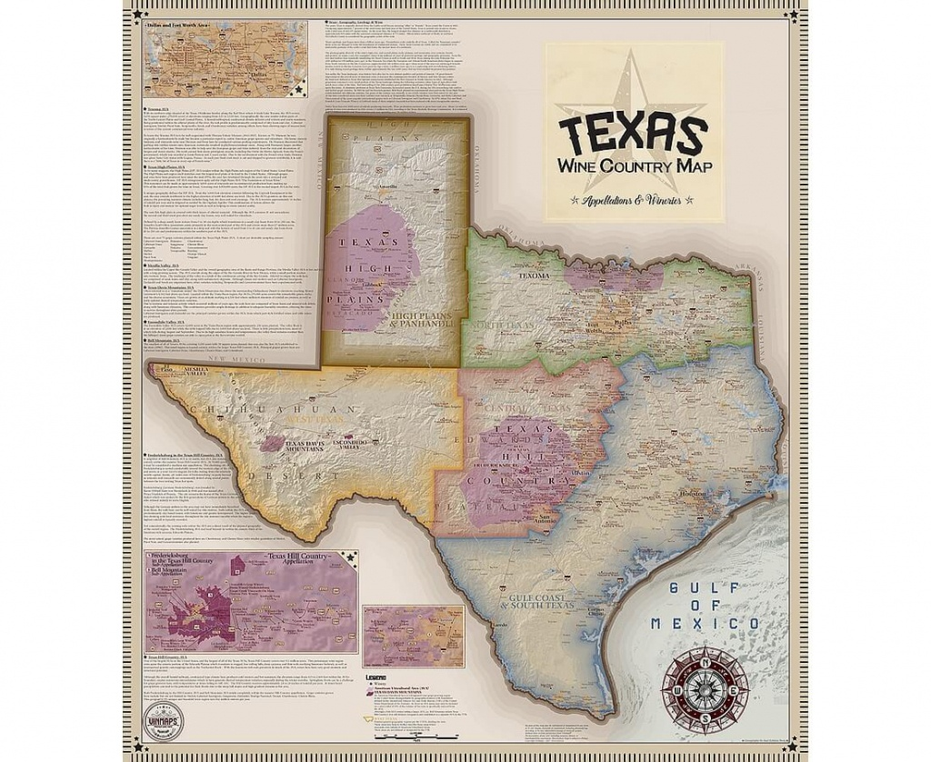 Vinmaps Texas Wine Country Map, Appellations & Wineries Review - Texas Hill Country Wineries Map