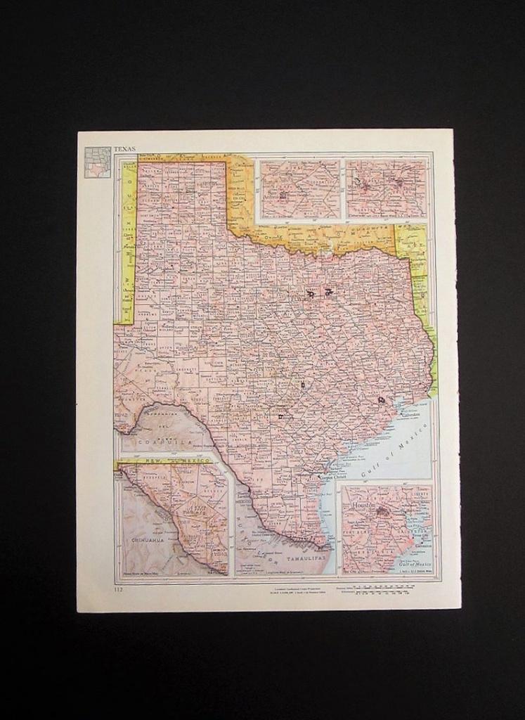 Vintage 1960 Texas Map / Map Wall Art / Office Decor / Texas   Etsy - Old Texas Map Wall Art