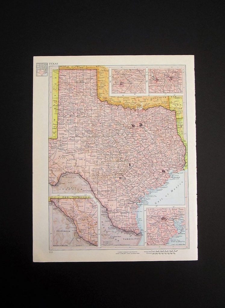 Vintage 1960 Texas Map / Map Wall Art / Office Decor / Texas | Etsy - Texas Map Wall Art