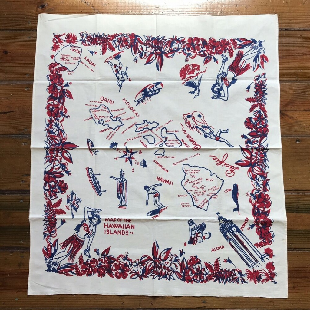 Vintage 50S Hawaii Print Souvenir Small Tablecloth State Map Surfer - Vintage Florida Map Tablecloth