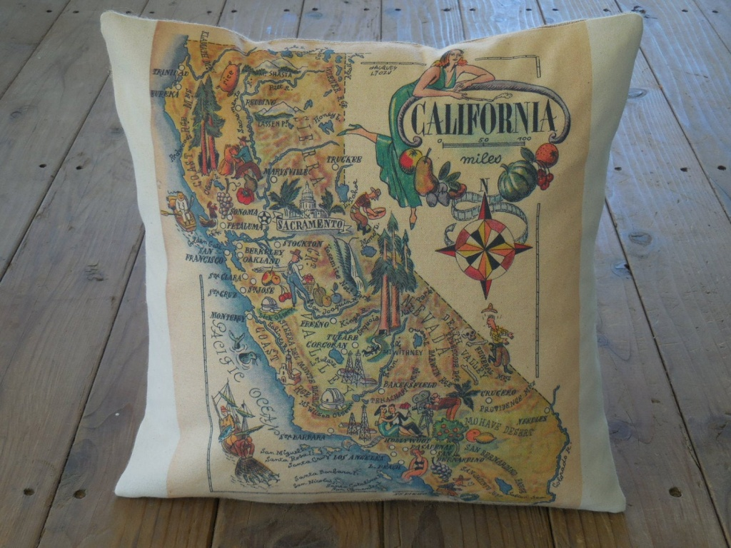 Vintage California Map Pillow Travel Geography Ca | Etsy - California Map Pillow