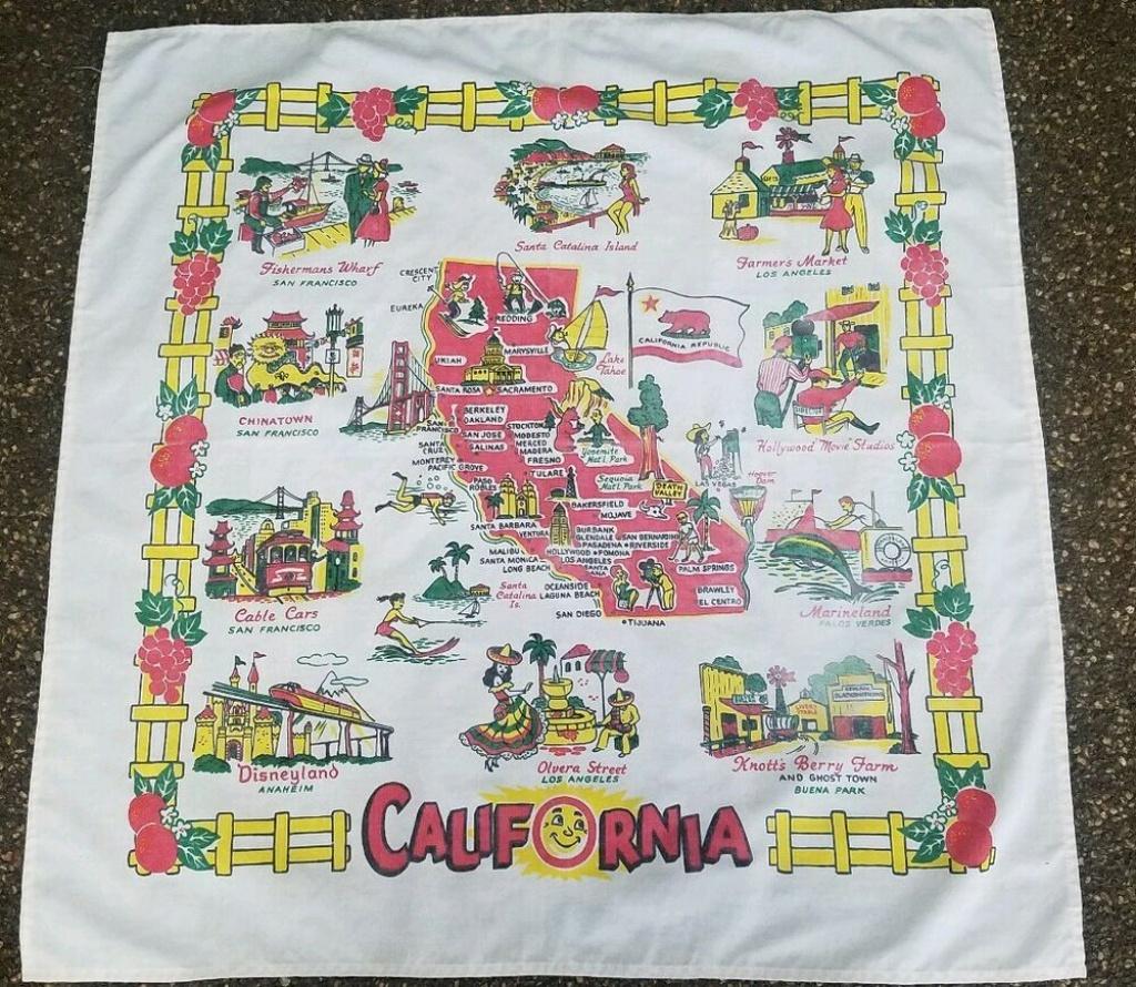 Vintage California State Map Souvenir Tablecloth,late 50's To 60's - Vintage California Map Tablecloth