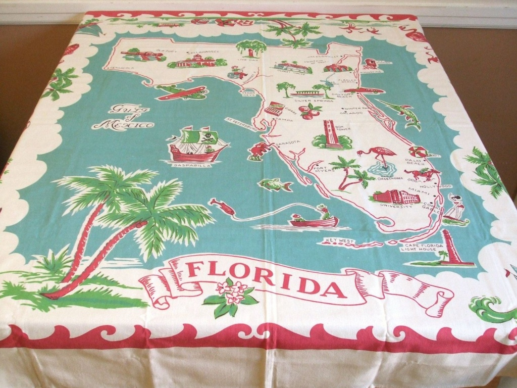Vintage Florida Map Tablecloth   Mapping Our Worlds   Red Turquoise - Vintage Florida Map Tablecloth