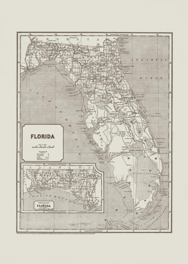 Vintage Florida Map Vintage Florida Wall Art Antique | Etsy - Vintage Florida Map Poster