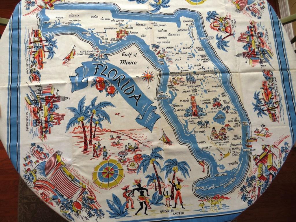 Vintage Florida Souvenir Tableclothbelcrest - New Unused With - Vintage Florida Map Tablecloth