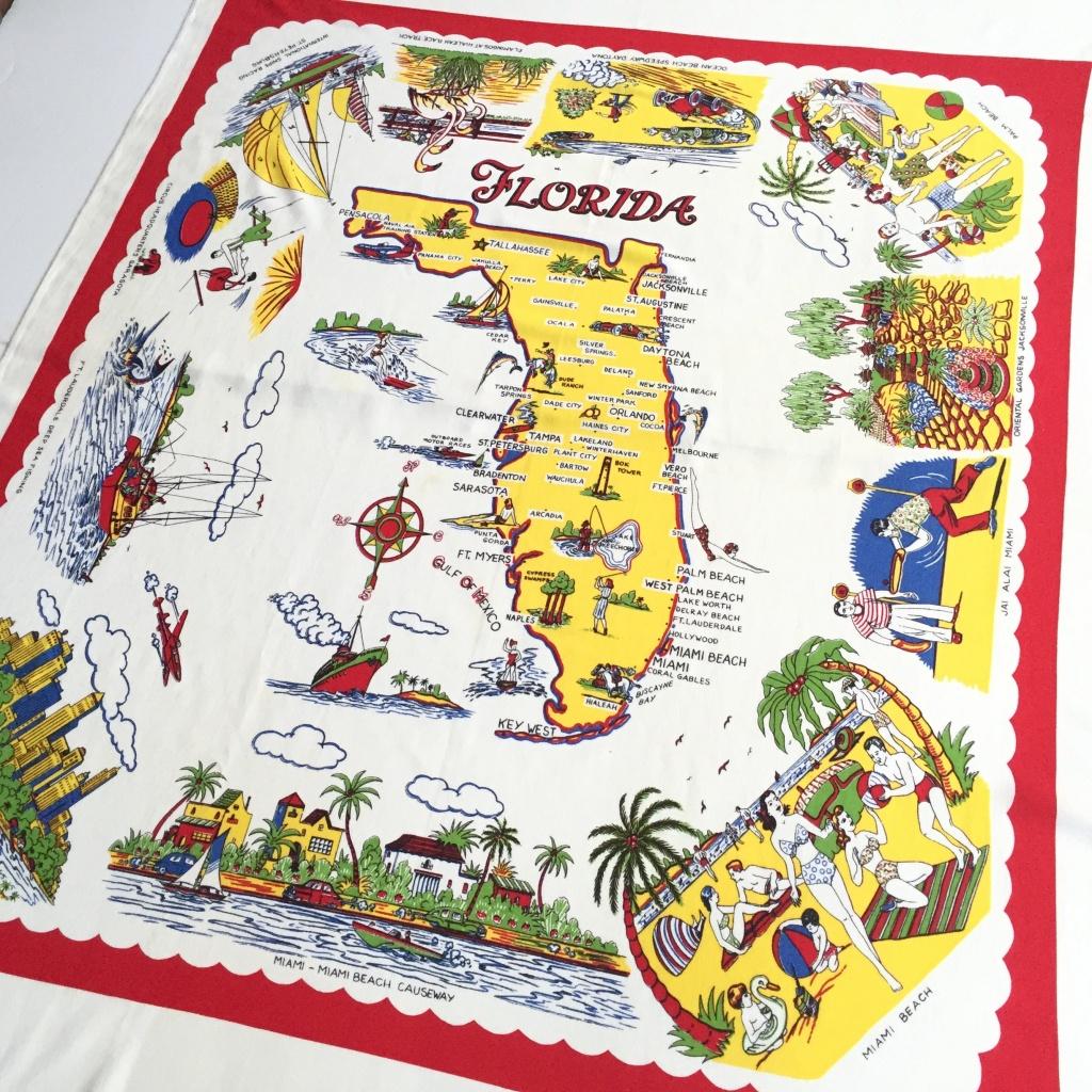Vintage Florida Tablecloth Souvenir Map 1950S Kitsch   Etsy - Vintage Florida Map Tablecloth