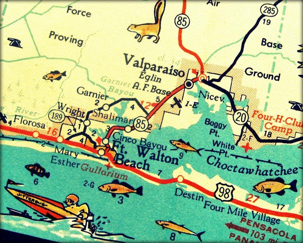 Vintage Map Art Of Destin Florida 8X10 Retro Map Ft Walton Beach - Where Is Fort Walton Beach Florida On The Map