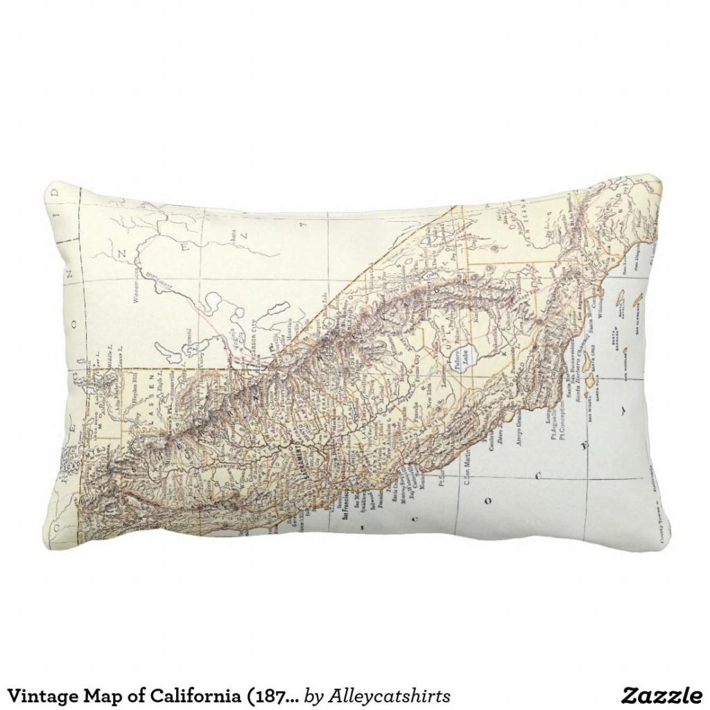 Vintage Map Of California (1878) Lumbar Pillow | Pillows - California Map Pillow