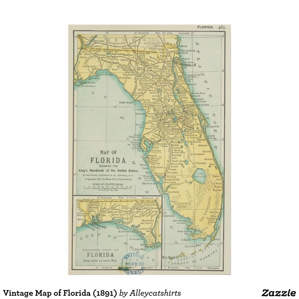 Vintage Map Of Florida (1891) Poster | Zazzle In 2019 | Vintage - Vintage Florida Map Poster