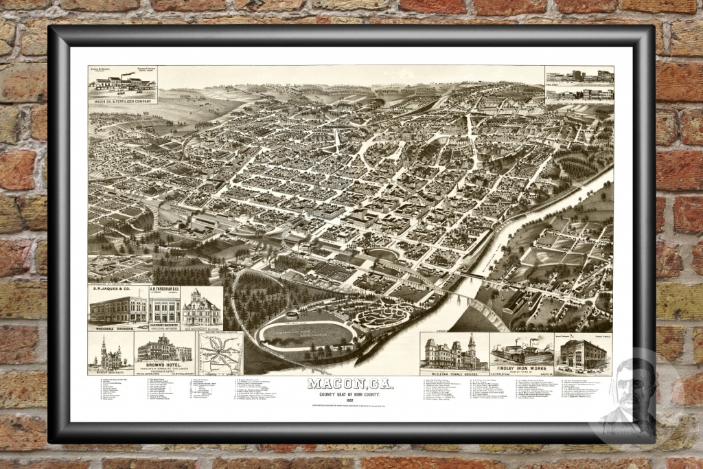 Vintage Map Of Macon, Georgia 1887 - Ted's Vintage Art - Printable Map Of Macon Ga