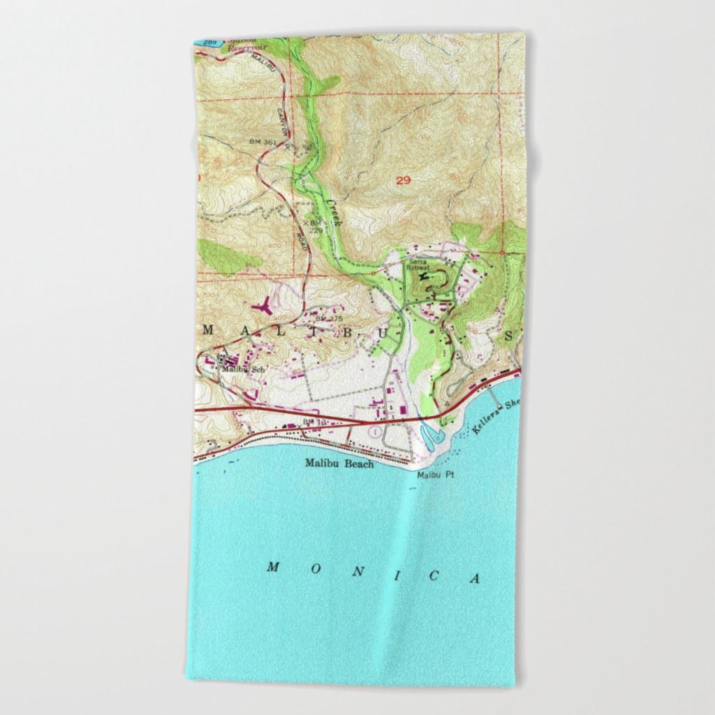 Vintage Map Of Malibu California (1950) Beach Towelbravuramedia - Malibu California Map