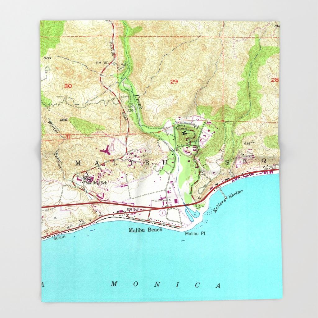 Vintage Map Of Malibu California (1950) Throw Blanket - Malibu California Map