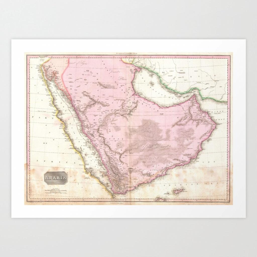 Vintage Map Of Saudi Arabia (1818) Art Printbravuramedia   Society6 - Printable Map Of Saudi Arabia