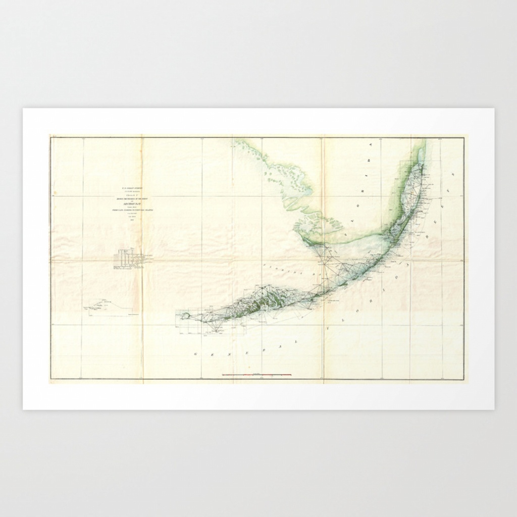 Vintage Map Of The Florida Keys (1859) Art Printbravuramedia - Florida Keys Map Poster