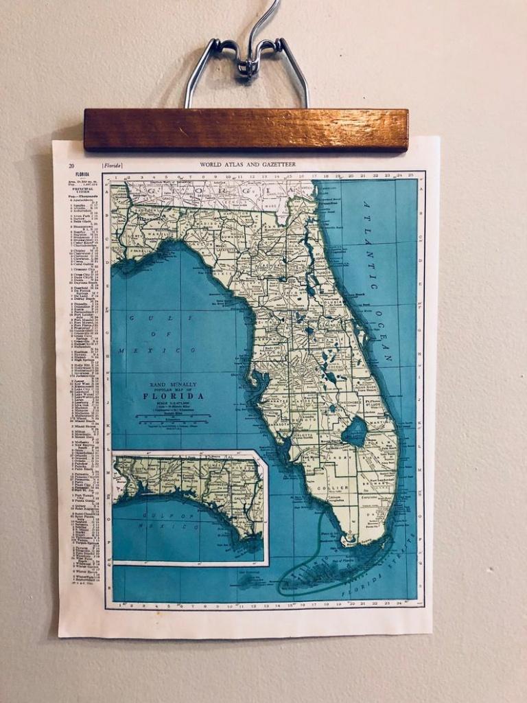 Vintage Maps Of Florida And Connecticut Original Antique Atlas   Etsy - Antique Florida Maps For Sale