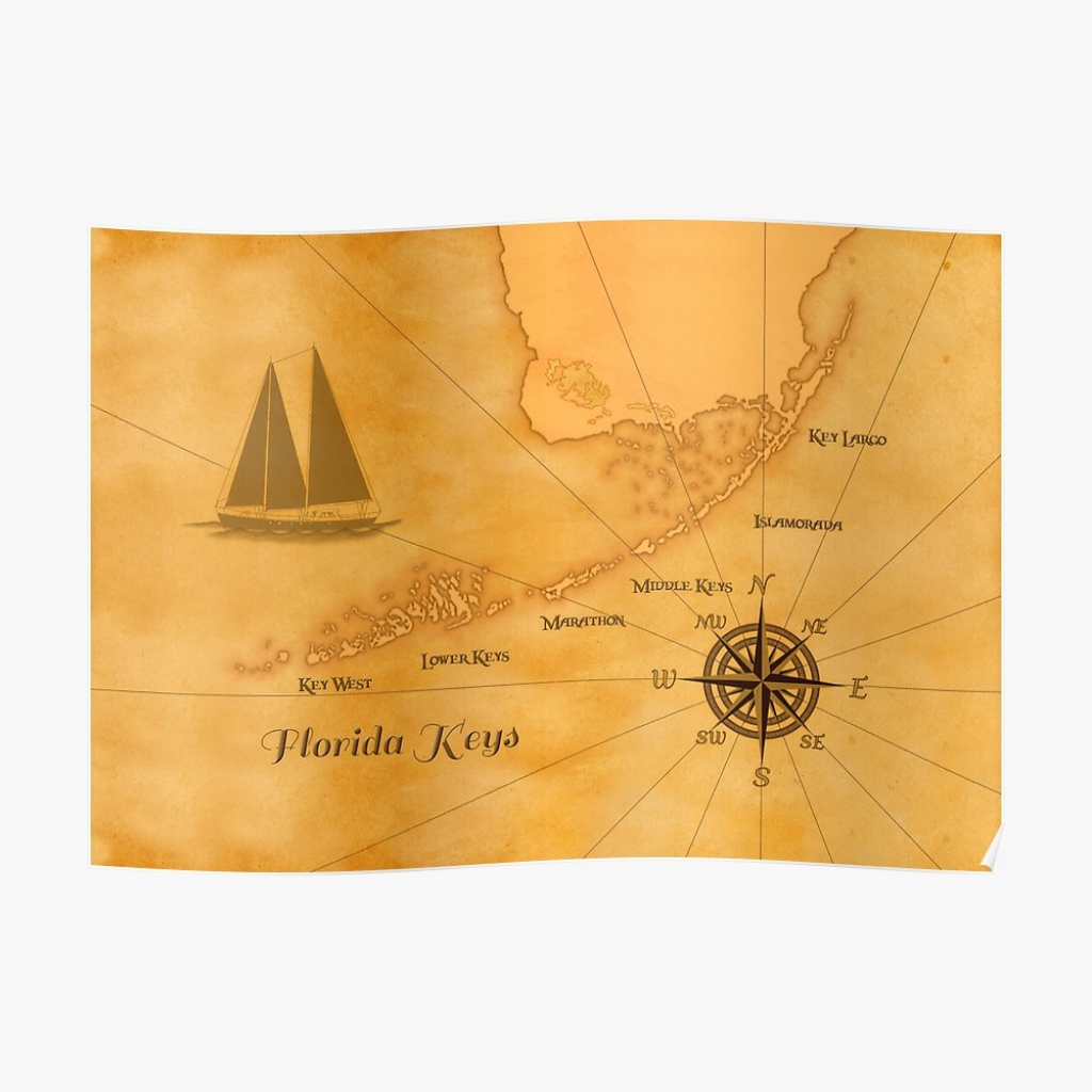 "Vintage Nautical Florida Keys Map"" Posterbailoutisland 
