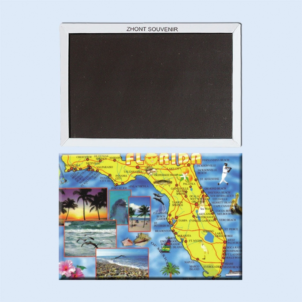 Vintage Poster Florida Map Fridge Magnets 22280,tourist Gift For - Vintage Florida Map Poster