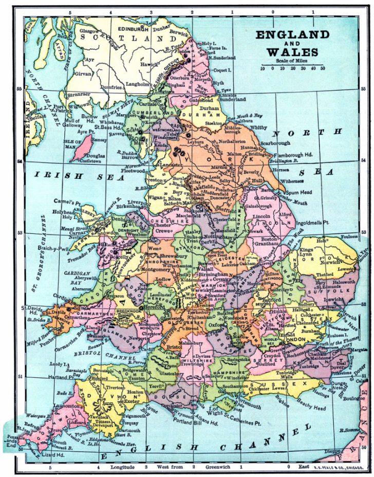 Printable Map Of England