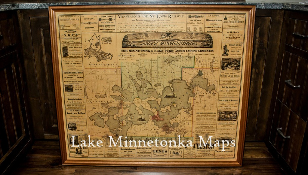 Vintage Rare Framed Map Of Lake Minnetonka Dating Back To 1879 - Printable Lake Minnetonka Map