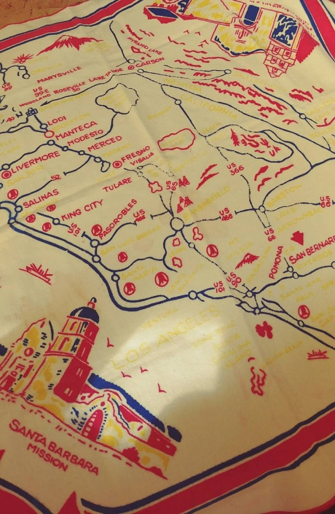 Vintage Soft Felt California Map Table Cloth | Etsy - Vintage California Map Tablecloth