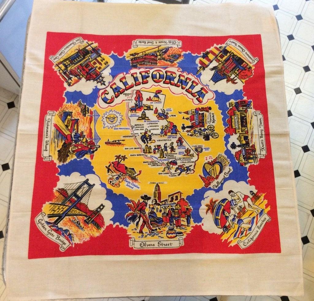 Vintage Souvenir Tablecloth 1950's California Sun N Fun | Etsy - Vintage California Map Tablecloth